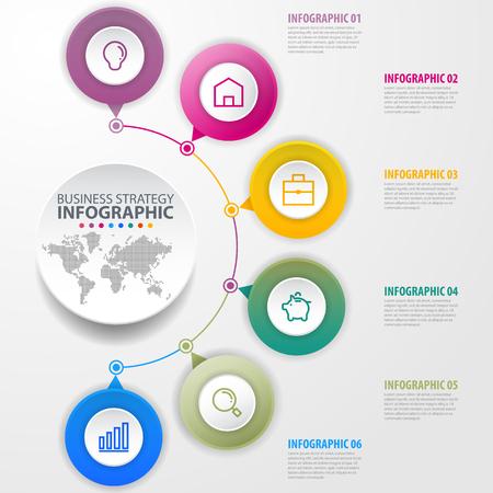 Illustration pour Business Infographics, strategy, timeline, design template illustration. Vector eps10. - image libre de droit
