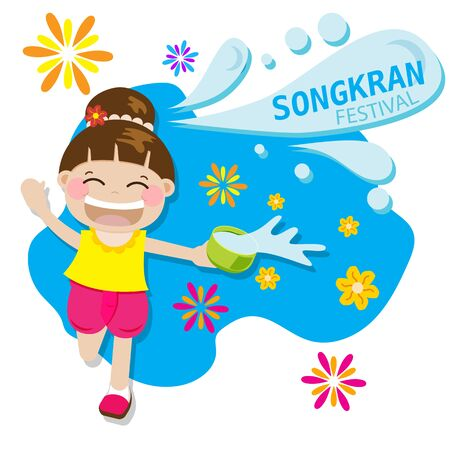 Illustration for Thai girl happy splash water playing for Songkran festival in Thailand for Thai New Year during hot summer in 13th april vector illustration - Royalty Free Image