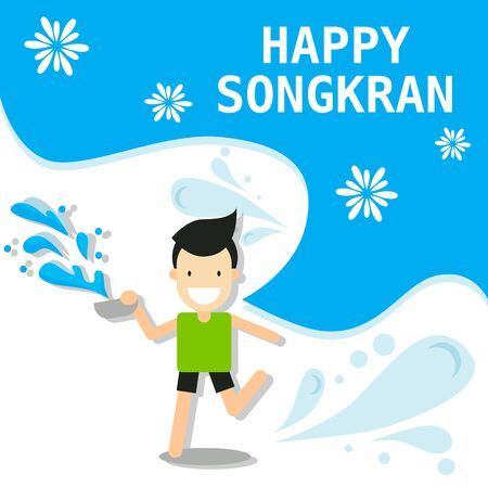 Illustration pour cartoon character abstract people for Songkran festival in Thailand for Thai New Year during hot summer in 13th april vector illustration - image libre de droit
