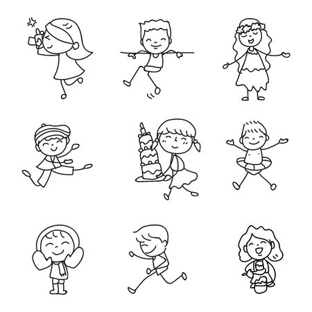 Illustration for Set of hand drawing doodle happy kids cartoon character abstract people match stick style vector illustration art and graphic decoration - Royalty Free Image