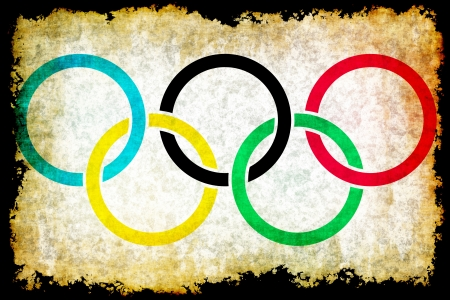 Olympic rings grunge background
