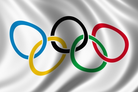 Olympic rings flag silk background