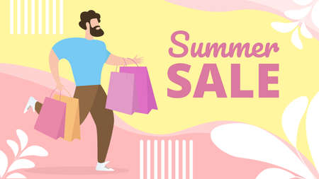 Ilustración de Informational Flat Banner Summer Sale Lettering. Fashionable Man  Casual Clothes Hurries to Go Shopping. Bearded Guy Runs with Packages. Final Sale in Mens Section. Vector Illustration. - Imagen libre de derechos
