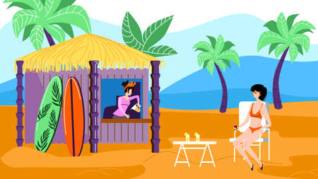 Illustration for Young Relaxed Woman in Bikini Sitting at Table in Outdoors Cafe on Exotic Beach with Bungalow Kiosk for Cold Beverages, Surfing Boards Rent, Palm Trees and Seascape. Cartoon Flat Vector Illustration - Royalty Free Image