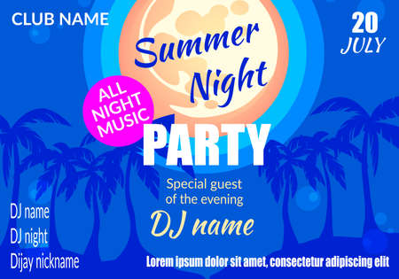 Illustration for Summer Night Party Horizontal Banner, Palm Trees Silhouettes under Full Moon Light on Beach, Musical Disco Event, Club Entertainment Advertising Poster, Flyer, Placard Cartoon Flat Vector Illustration - Royalty Free Image