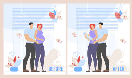 Illustration for Before Childbirth and After Pregnancy Cartoon Set. Married Family Couple Expecting for Baby and Father, Mother Carrying and Caring for Infant. Happy Adult People and Child. Vector Flat Illustration - Royalty Free Image