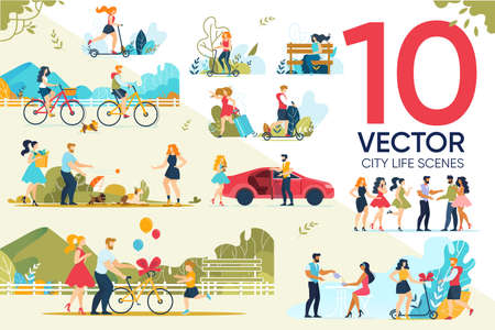 Illustration for Happy People Rest Outdoor City Life Scene Set - Royalty Free Image
