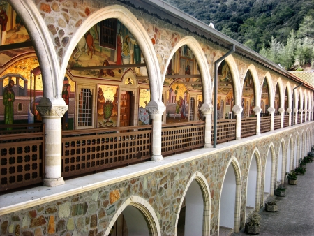 Kykkos monastery situated in the Troodos mountains over southwestern Cyprus