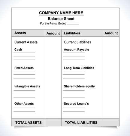 balance sheet format, unfill paper balance invoice form