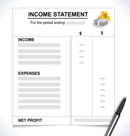 Income Statement Tax return concept with pen and money icons vector eps10