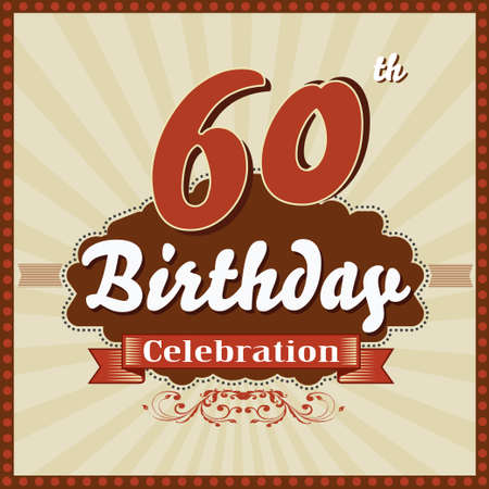 60 year happy birthday celebration retro style card  vector eps10