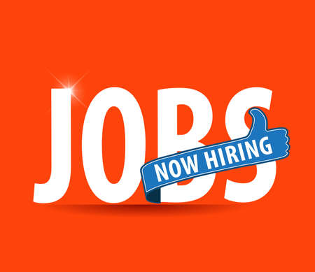 Illustration pour jobs opening now Hiring blue thumbs up advertising job offer and sign with the words Now Hiring isolated, Now Hiring Sign on bright background - image libre de droit