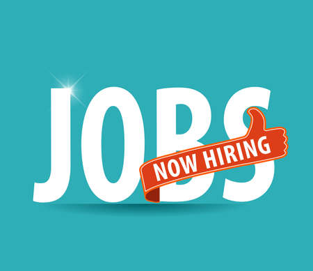 Illustration pour jobs opening now Hiring  thumbs up advertising job offer and sign with the words Now Hiring isolated, Now Hiring Sign on bright background - image libre de droit