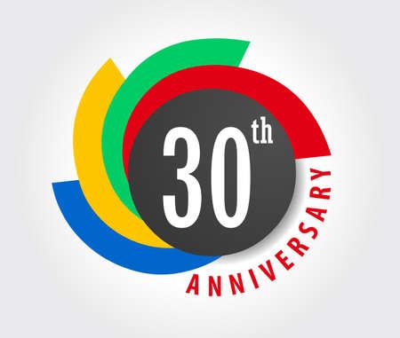 Illustration pour 30th Anniversary celebration background, 30 years anniversary card illustration - image libre de droit