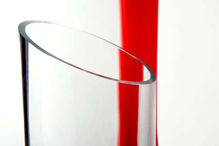 Abstract composition from white glass and red
