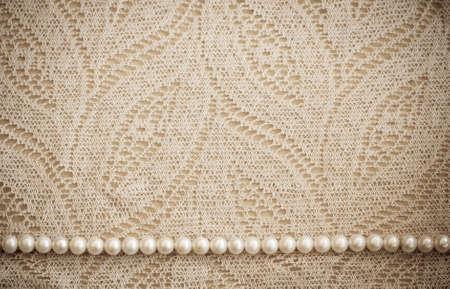 Photo pour Lace and pearls vintage background - image libre de droit