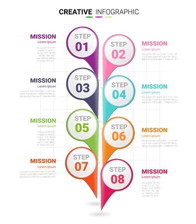 Illustration pour Infographic design template with numbers 8 option for Presentation infographic, Timeline infographics, steps or processes. Vector illustration. - image libre de droit
