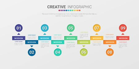 Illustration pour Presentation business infographic template, Abstract infographics number options template with 9 steps. Vector illustration. - image libre de droit