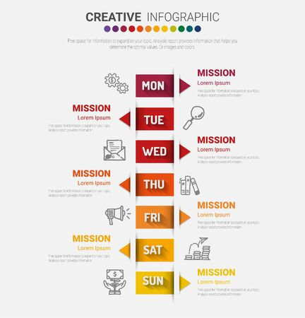 Illustration pour Timeline business for 7 day, 7 options, Timeline infographics design vector and Presentation business can be used for Business concept with 7steps or processes. - image libre de droit