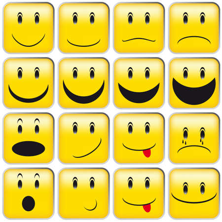 Illustration for Set of Emoticons - Collection of Yellow Squared Smileys - Royalty Free Image