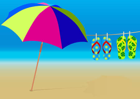 Summer Background - Beach Umbrella and Hanging Flip-Flops on Empty Sandy Beach