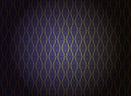 Vintage Wallpaper - Golden Ornaments on Dark Blue Background