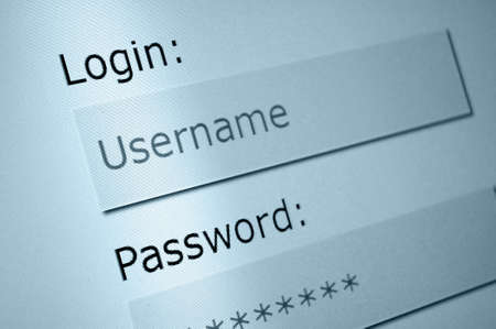 Photo pour Login - Username and Password in Internet Browser on Computer Screen - image libre de droit