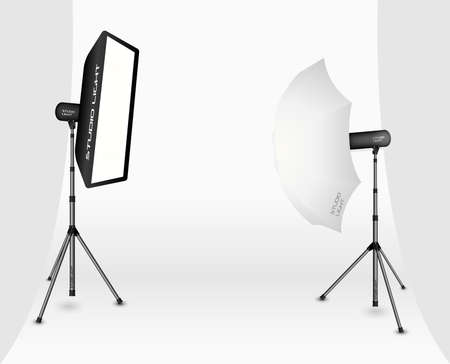 Photographic LIghting - Two Professional Studio Lights with Soft Box and Umbrella on Tripods on White Background