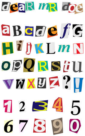 Anonymous Alphabet - Colorful Ripped Letters Isolated on White