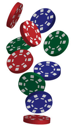 Illustration of Falling Red, Blue and Green Poker Chips Isolated on White