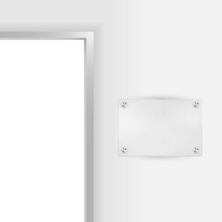 Entry to Office - Open Door and Blank Plate For Company Name