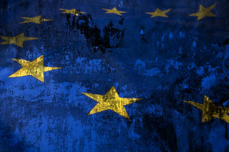 Closeup of Grungy Flag of European Union - EU Flag Drapery