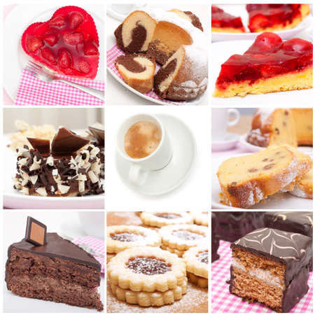 Collage of Nine Various Pies, Dessert and Cakes and Espresso Coffee