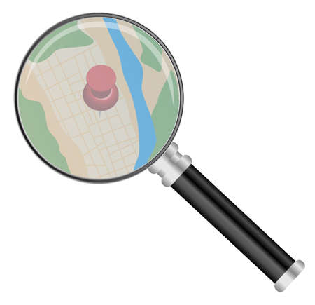 Illustration pour Magnifying Glass on Map Isolated on White - image libre de droit