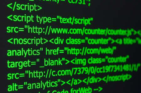 Closeup of Web Code on Computer LED Screen