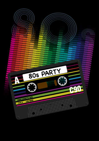 Vector 80s Party Background- Eighites Party - Vector