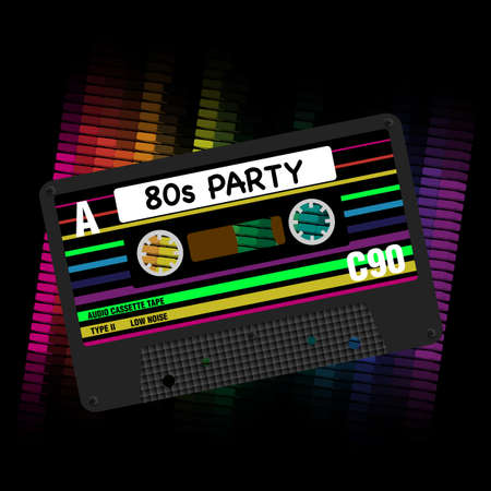 Photo pour 80s Party Background- Eighites Party - Illustration of Retro Audio Cassette Tapes and Equalizer on Black Background - image libre de droit