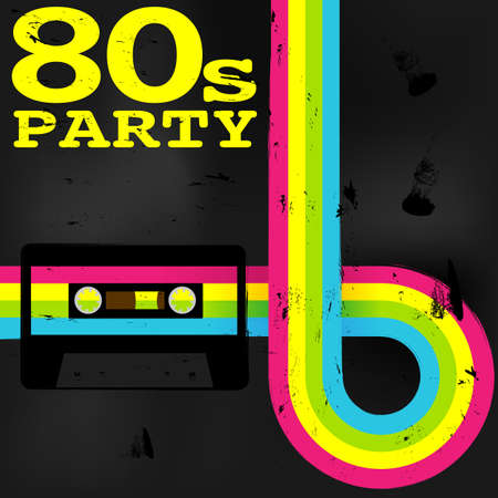 Photo pour Retro Poster - 80s Party Flyer With Audio Cassette Tape - image libre de droit