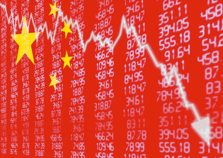 Chinese Stock Market - Arrow Graph Going Down on Red Chinese Flag