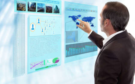 Photo for Businessman works with futuristic Display - Royalty Free Image