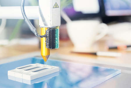 New generation of 3D Printing Machine printing a piece of plastic. For use in small spaces Office or private use