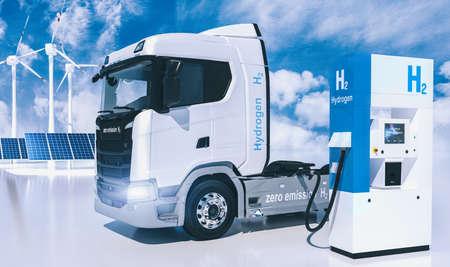 Photo pour hydrogen logo on gas stations fuel dispenser. h2 combustion Truck engine for emission free ecofriendly transport. 3d rendering - image libre de droit