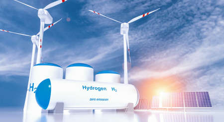 Photo for Hydrogen renewable energy production - hydrogen gas for clean electricity solar and windturbine facility. 3d rendering. - Royalty Free Image