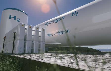 Photo pour Hydrogen renewable energy production - hydrogen gas for clean electricity solar and wind turbine facility. 3d rendering. - image libre de droit