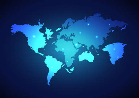 Illustration pour Abstract digital world map global social network. Technology background. Vector illustration - image libre de droit