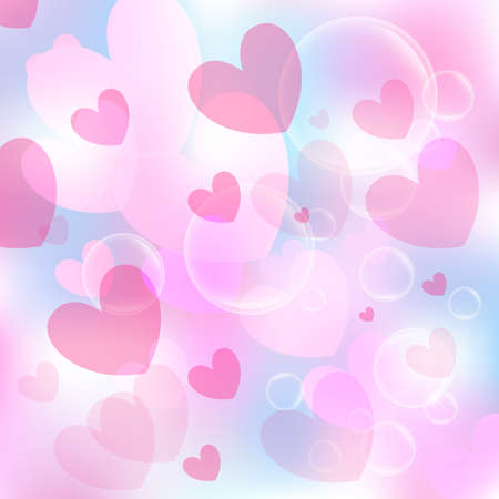 Illustration for Valentine's day background. Hearts colorful overlapping. Vector illustration - Royalty Free Image
