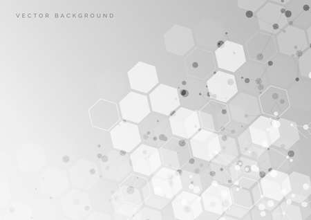 Illustration for Abstract white and grey hexagon pattern background. Medical and science concept and structure molecule and communication. You can use for ad, poster, template, business presentation. Vector illustration - Royalty Free Image