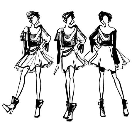 Illustration for Vector illustration set of various beautiful model girls in dress. Women fashion black and white sketch. - Royalty Free Image
