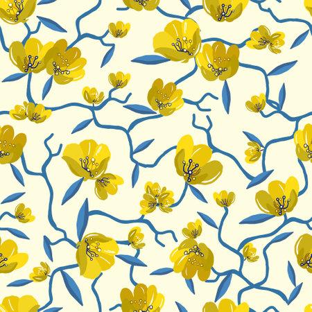 Illustration pour Elegant seamless floral pattern with yellow flowers on a white vintage background. Vector illustration - image libre de droit