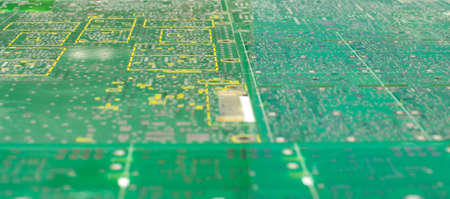 Many different empty PCB abstract background low angle view and selective focus